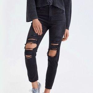 American Eagle Distressed High Waist Mom Jeans 14